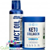 Applied Keto Combo, Keto Collagen 325g & MCT Oil 490ml - bezsmakowe, bez aromatów