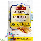 Toufayan Bakeries Smart Carb Pockets, low carb square pita pockets, 6pcs
