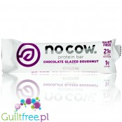 No Cow Chocolate Glazed Doughnut vegan keto protein bar with stevia, monk fruit and erythritol