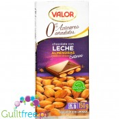 Valor no added sugar milk chocolate with almonds, sweetened with stevia
