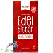 Dark chocolate without sugar sweetened with Finnish xylitol