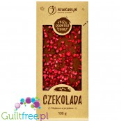 Krukam Handcrafted Milk Chocolate & Raspberries - sugar free chocolate without lecithin with raspberry pieces