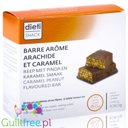 Barre arôme caramel - arachide croustillante, collation protein gourmande - Protein bar with a caramel flavor with peanuts, cont
