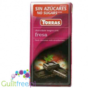 Torras ark chocolate with no added sugar, strawberry pieces