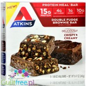 Atkins Meal Double Fudge Brownie protein bar without maltitol, box of 5 bars