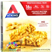 Atkins Meal Peanut Butter Granola Bar protein bar without maltitol, box of 5 bars