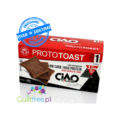 Ciao Carb Crisp cocoa toast with a low glycemic index, contain sweetener