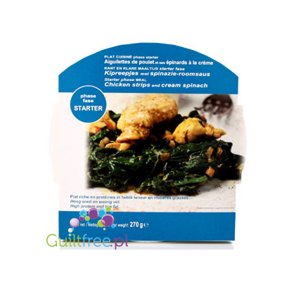 High protein and low fat meal, Chicken strips and cream spinach