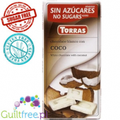 White chocolate with no added sugar, with pieces of coconut