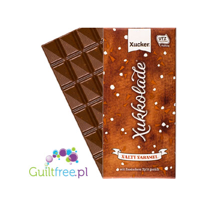 Milk chocolate without sugar added with salted caramel slices