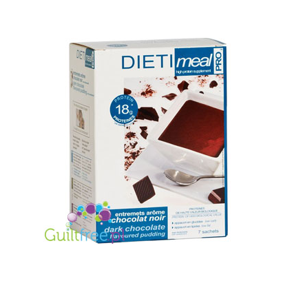 Hhigh-protein pudding with cocoa flavored with dark chocolate