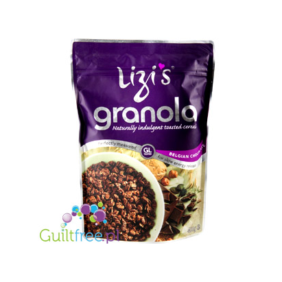 Lizi's Granola Belgian chocolate and cashew nuts - oatmeal with low glycemic load with Belgian chocolate and nuts