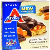 Atkins Snack Caramel Chocolate Peanut Nougat Bar - Low Carbbon Peanuts with Peanuts, Caramelized Chocolate and Nougat in Chocola