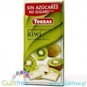 Torras White chocolate with kiwi without added sugar,