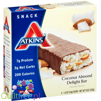 Atkins Snack Coconut Almond Delight Bar - low in carbohydrates bar with coconut and almonds coated with chocolate flavor