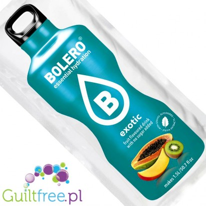Bolero Instant Fruit Flavored Drink with sweeteners, Exotic - Powder Mix for preparation of exotic fruit flavored beverage with