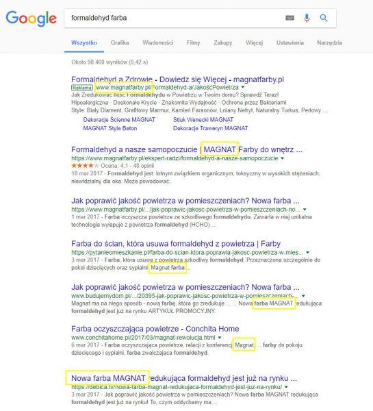 Wyniki wyszukiwania formaldehyd farba
