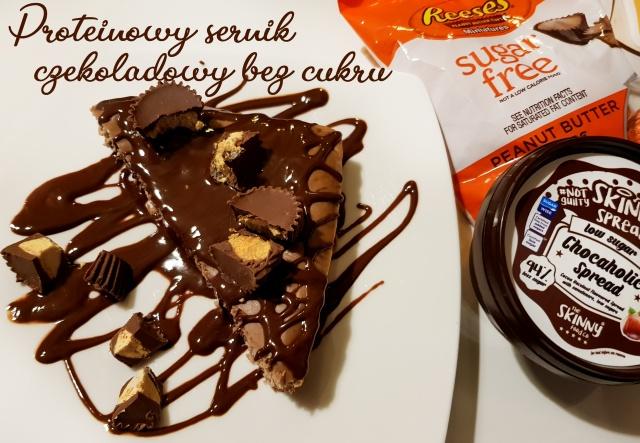 Czekoladowy sernik proteinowy bez cukru z miseczkami Reese's i sosem czekoladowym IIFYM #CheatMeal #CheatClean