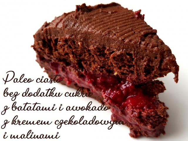 Czekoladowe paleo brownie bez cukru, z batatów, z wegańskim kremem czekoladowym i malinami