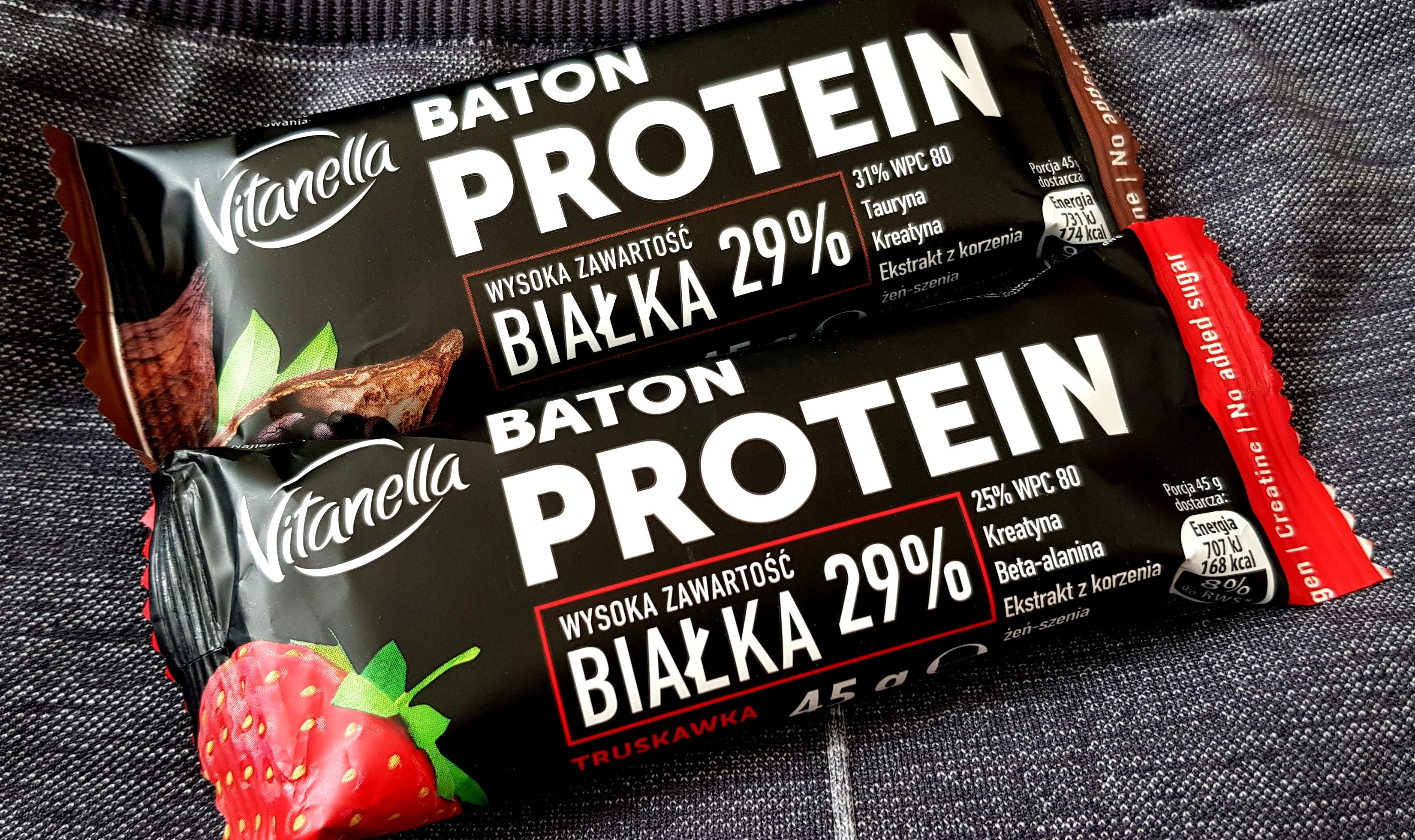 Vitanella Truskawka & Kakao, baton proteinowy z Biedronki