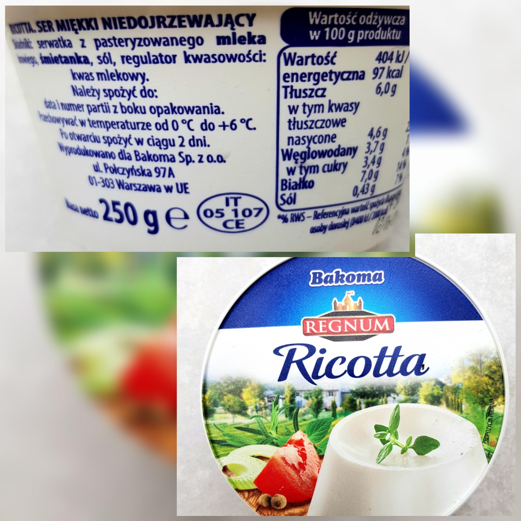 Bakoma Regnum Ricotta - wartości odżywcze i skład.