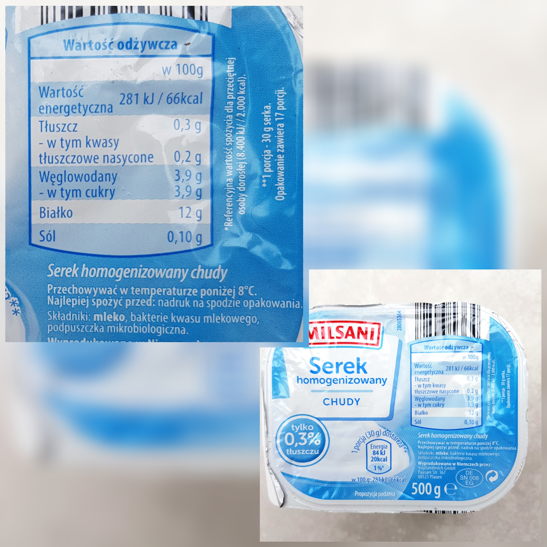 Chudy serek homogenizowany Milsani z Aldi - wartości odżywcze i skład.
