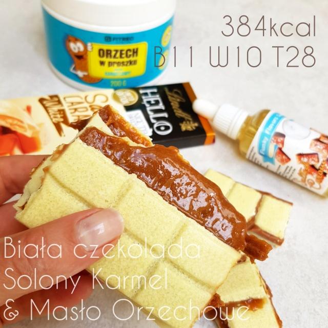 Biała keto czekolada bez cukru z masłem orzechowym i solonym karmelem