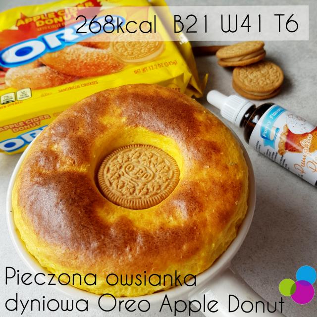 Pieczona proteinowa owsianka dyniowa z szarlotkową lawą a la Oreo Apple Cider Donut