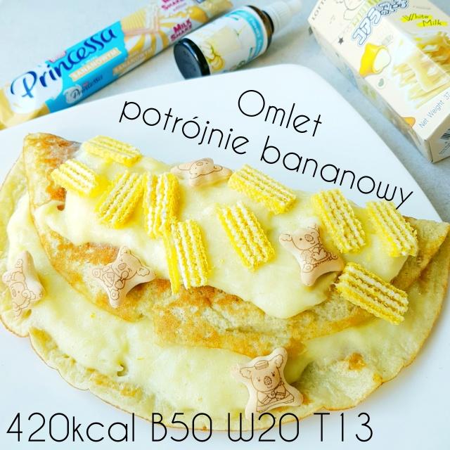 Potrójnie bananowy omlet proteinowy – 50g białka & 400kcal
