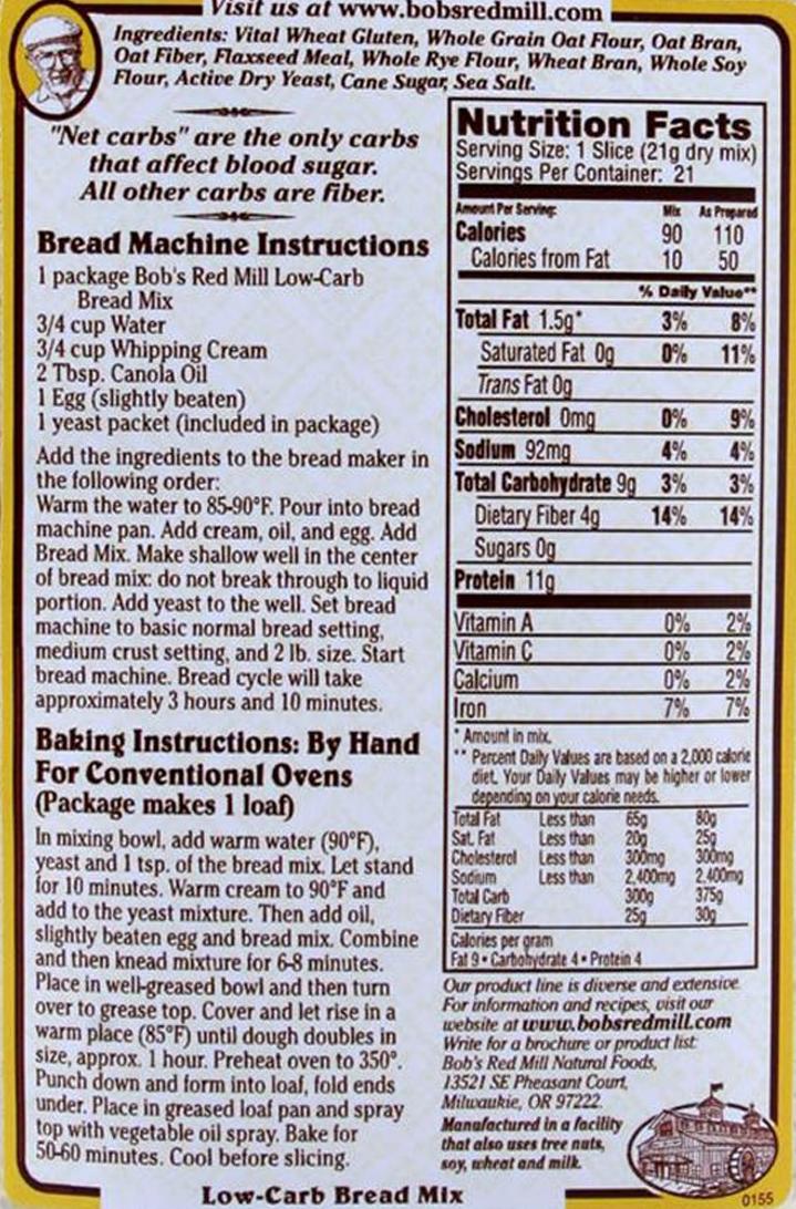 Bob's Red Mill Low Carb bread Mix - etykieta, sposób przygotowania i wartości odżywcze