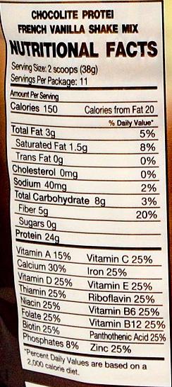 Wartości odżywcze Chocolite shake proteinowy French Vanilla 0,41kg bez cukru