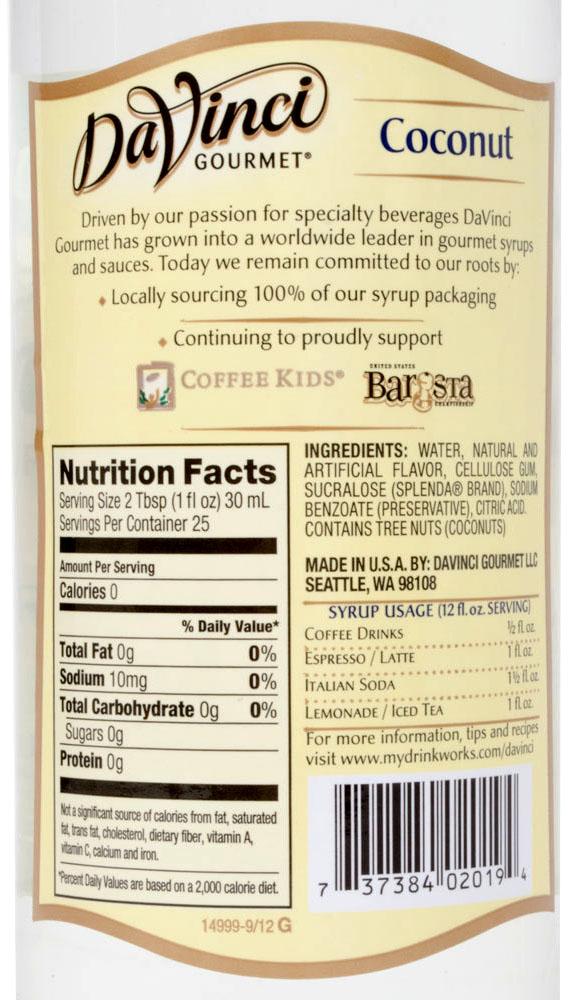 Syrop kokosowy bez cukru - wartości odżywcze