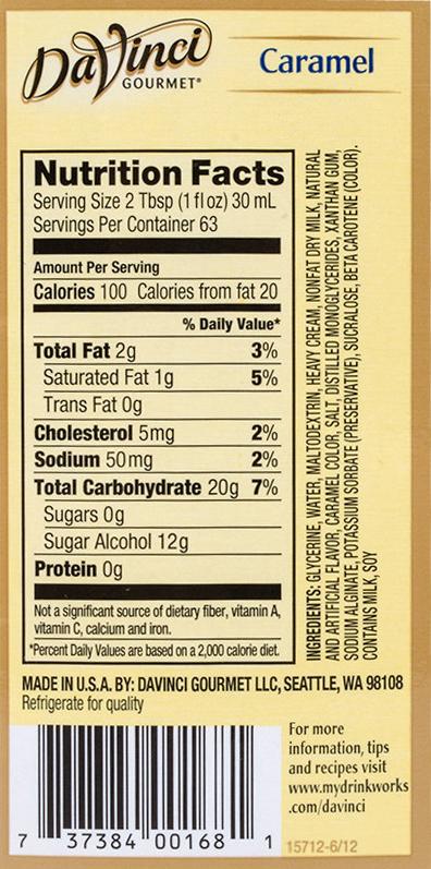 Niskowęglowodanowy sos karmelowy bez cukru DaVinci