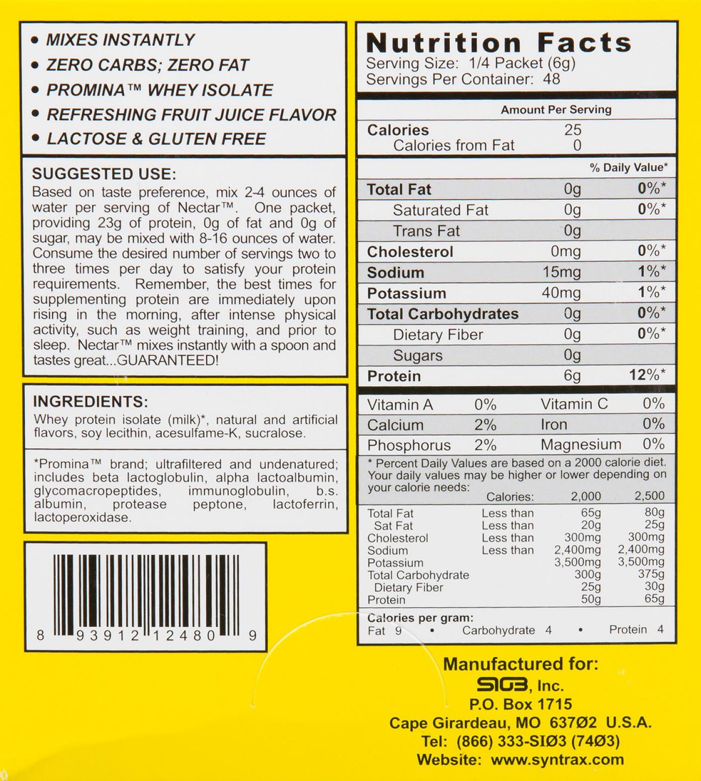 Syntrax Nectar Caribbean Cooler - wartości odżywcze