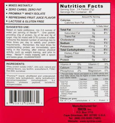 Odżywka białkowa Grab N Go Syntra Strawberry Kiwi - wartości odżywcze