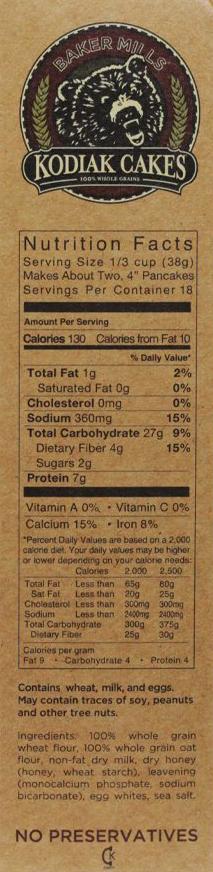 Naleśniki Kodiak Cakes - wartości odżywcze