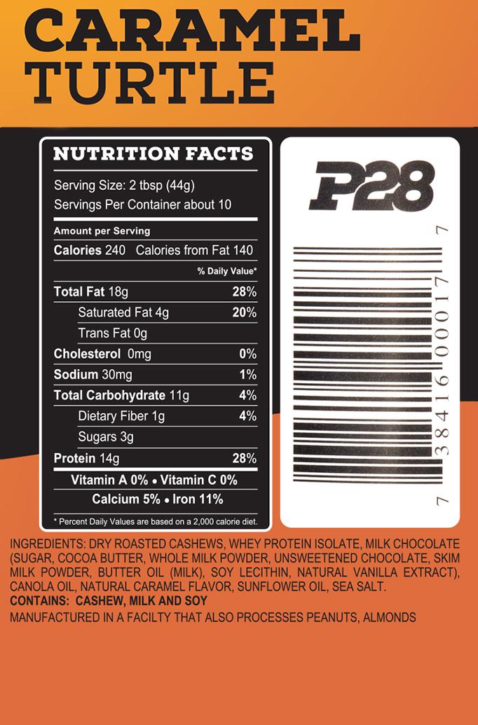 P28 Caramel Turtle Cashew Butter - wartości odżywcze