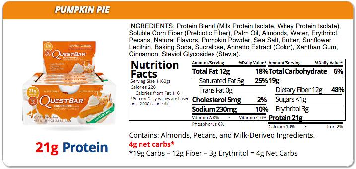Quest Bar Pumpkin Pie - skład i wartości odżywcze