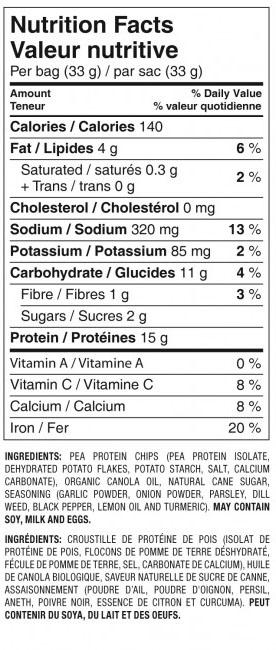 Wegańskie Chipsy Białkowe Simply Protein - wartości odżywcze