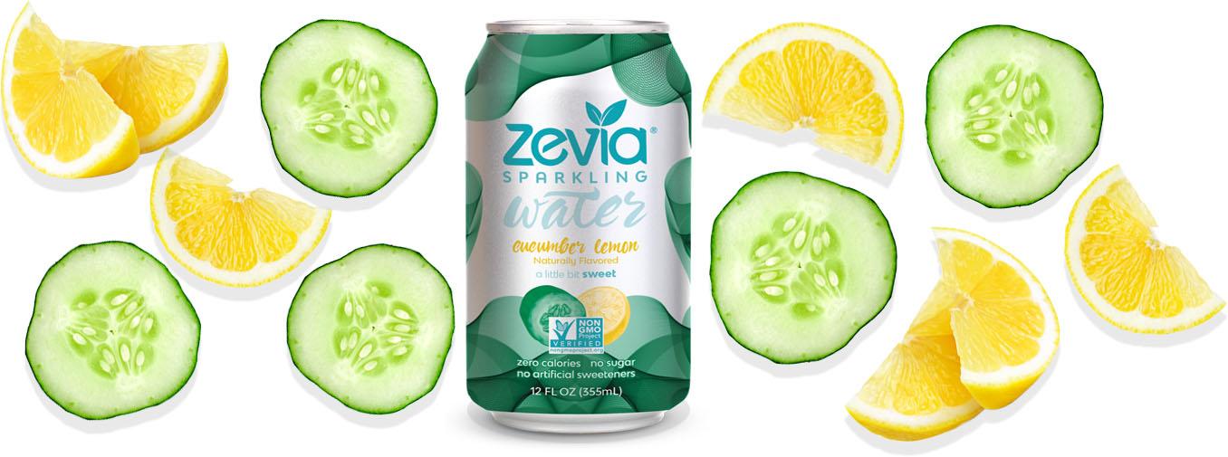 Zevia Sparkling Water Cucumber & Lemon banner