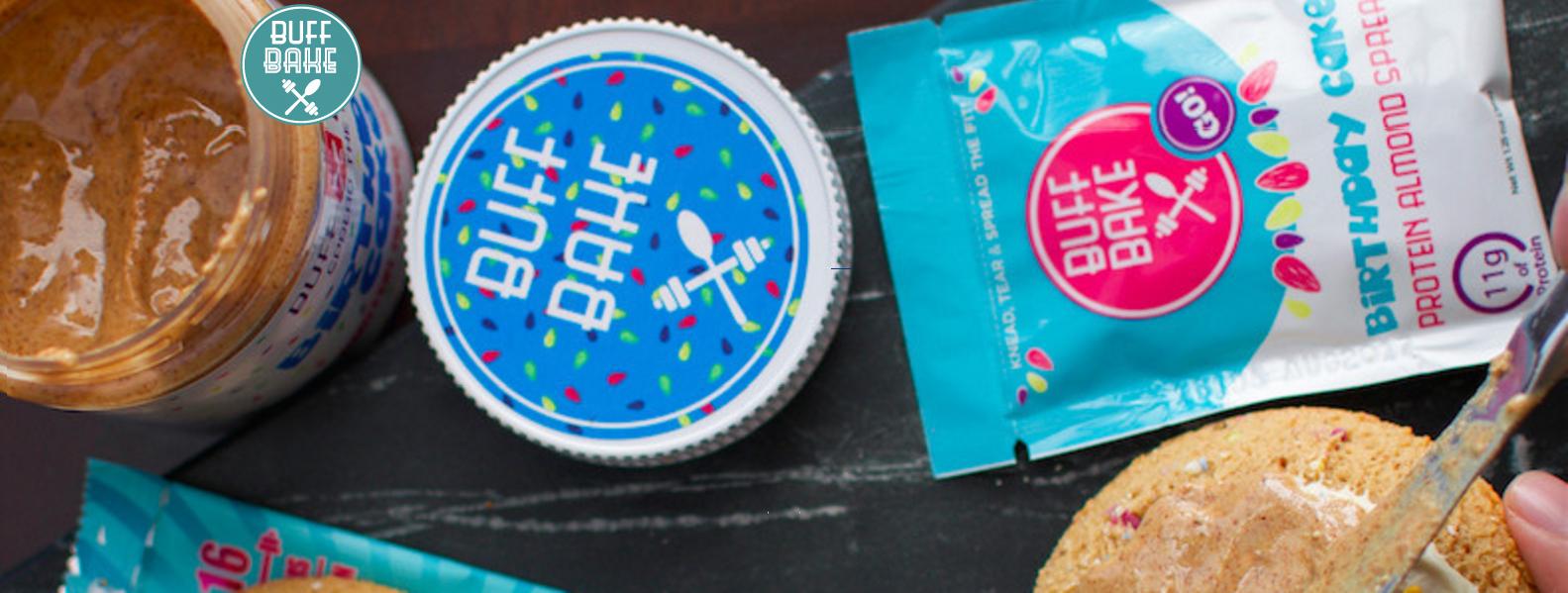 Proteinowe masło migdałowe Buff Bake Birthday Cake