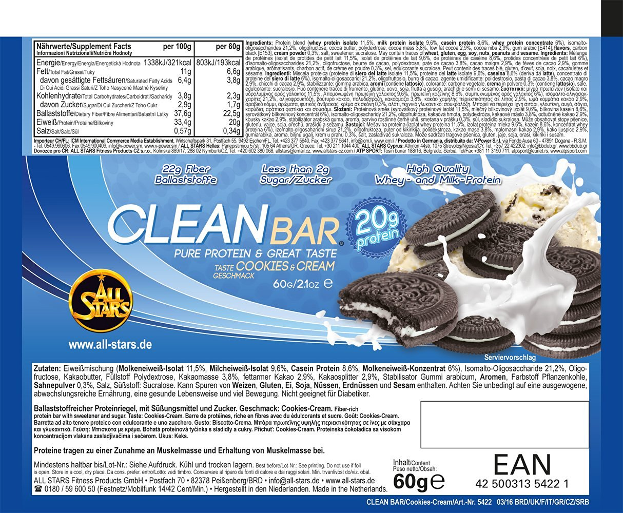 Clean Bar Cookies Cream - etykieta