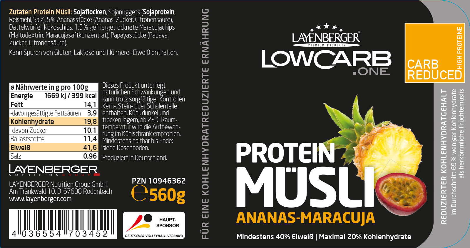 Musli proteinowe layenberger - wartości odżywcze