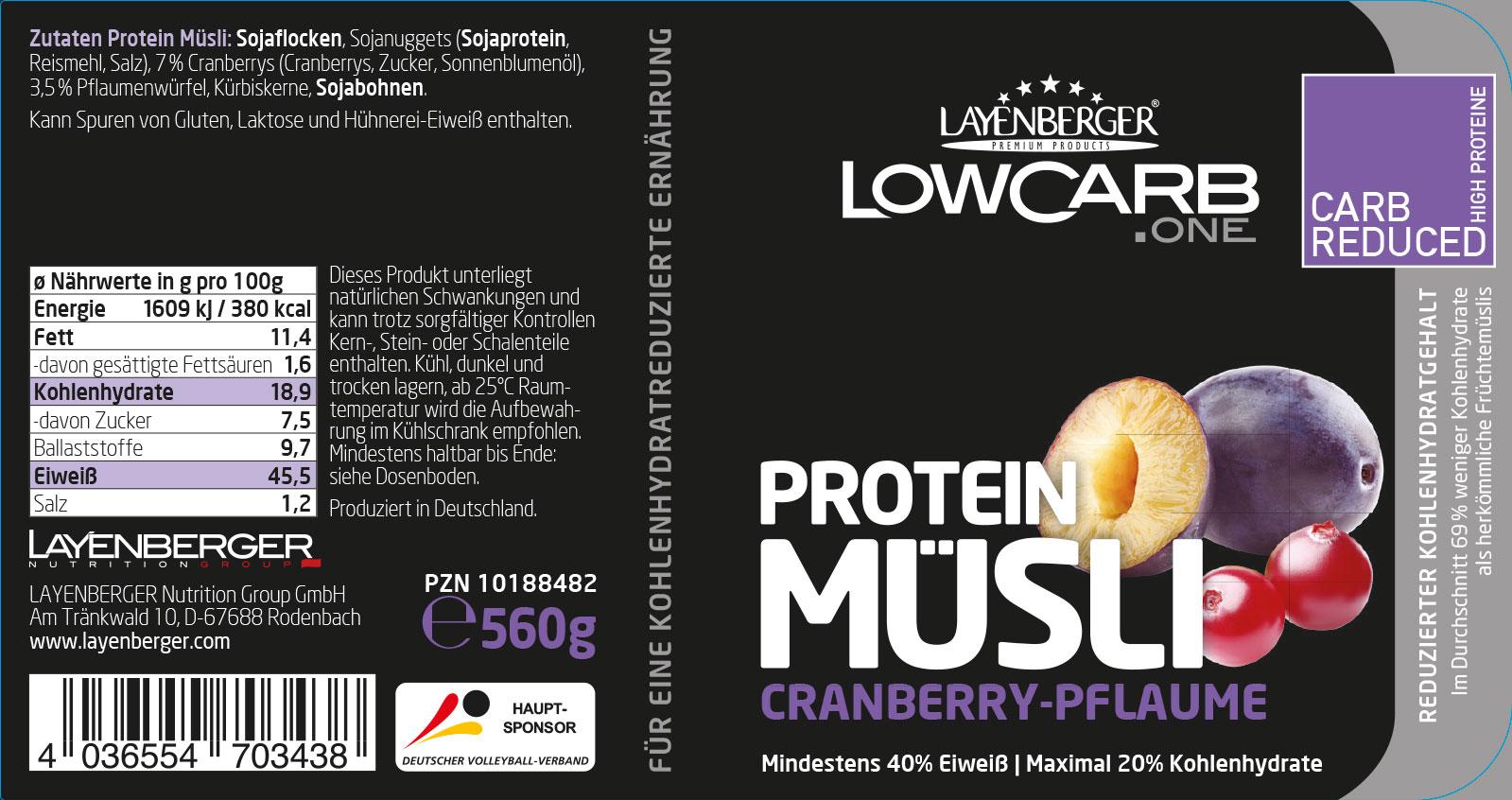 Layenberger proteinowe musli ze śliwkami i żurawinami